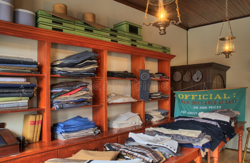 Old Fashioned Clothing Store Interior stock photos