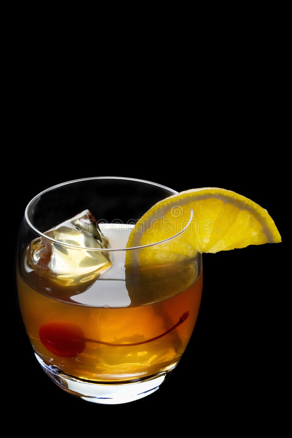 Old Fashioned cocktail on a black background stock photography
