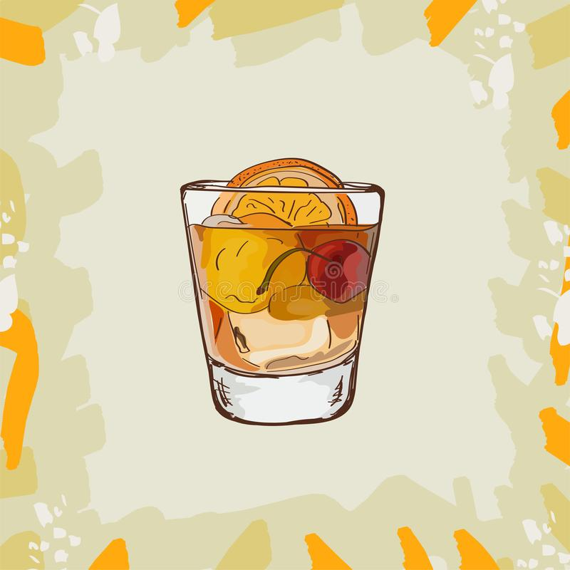 Free Old Fashioned Cocktail Illustration. Alcoholic Classic Bar Drink Hand Drawn Vector. Pop Art Stock Images - 140642474