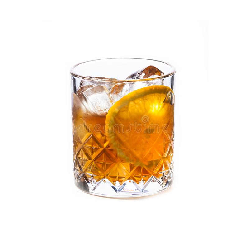 Old fashioned cocktail isolated on white background royalty free stock photo