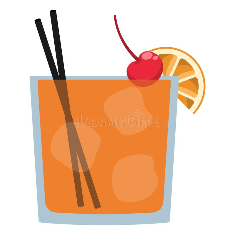 Old Fashioned Cocktail. Old Fashioned drink with ice cubes, cherry, orange wedge, and cocktail straws royalty free illustration