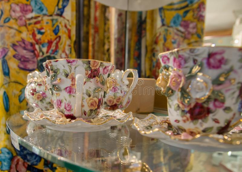 Old-fashioned cups at souvenir store in Vienna. Austria royalty free stock photo