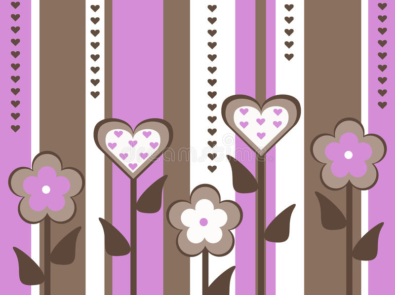 Old fashioned cut out style pink and brown flower and heart valentines day card striped background illustration vector illustration