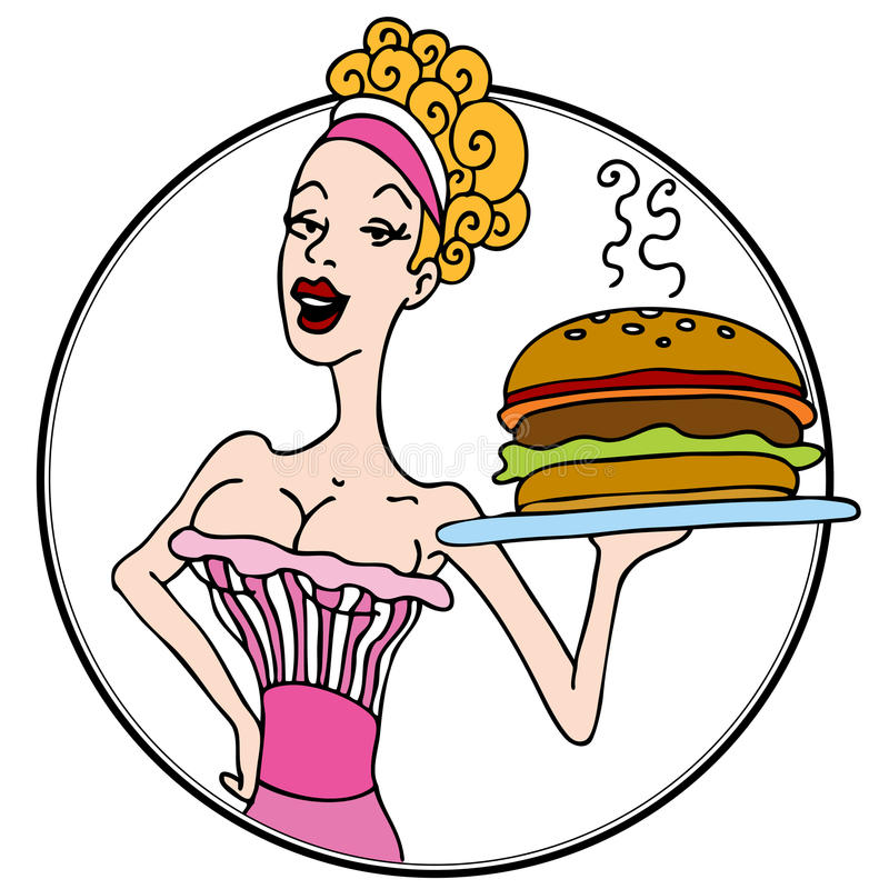 Free Old Fashioned Diner Waitress Serving Hamburger Royalty Free Stock Image - 21117226