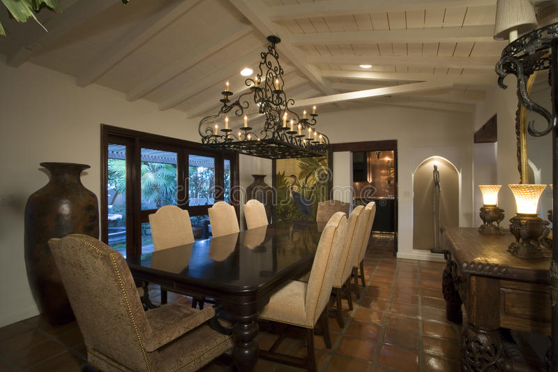 Old Fashioned Dining Room In House stock photo