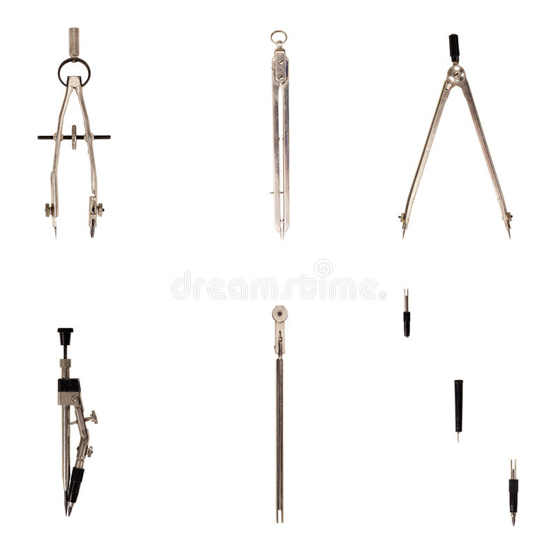Old-fashioned drawing instruments. Whole set of drawing instruments from 80s/90s. Used, with scratches and partly dirty, but any drawer can provide excellent royalty free stock image
