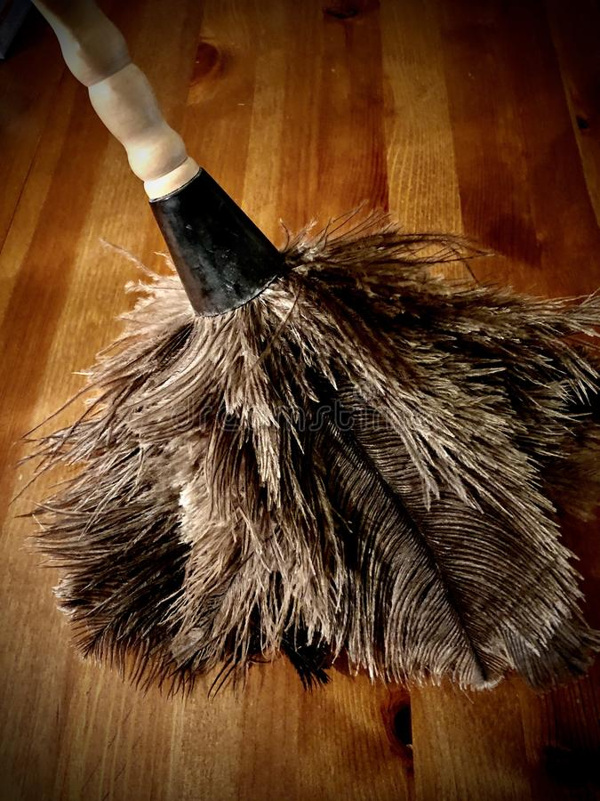Feather duster. Old fashioned feather duster on a wood table stock photo