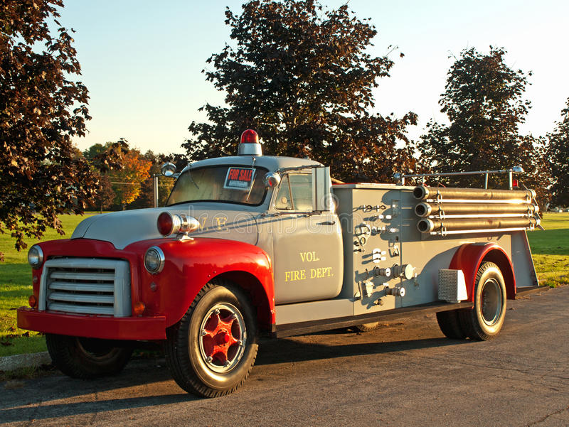 Old-fashioned fire truck stock image. Image of greay - 21492523