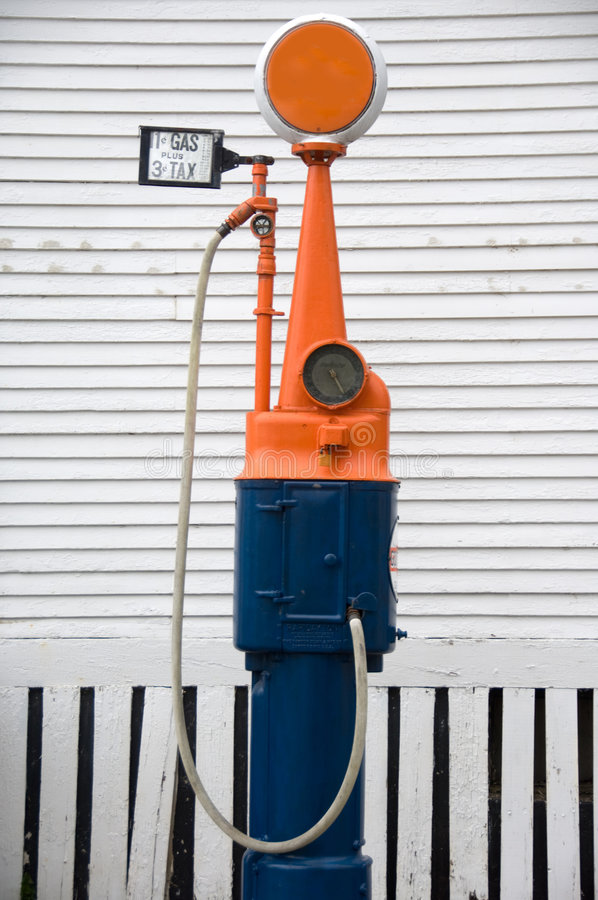 Old-fashioned gas pump stock photo