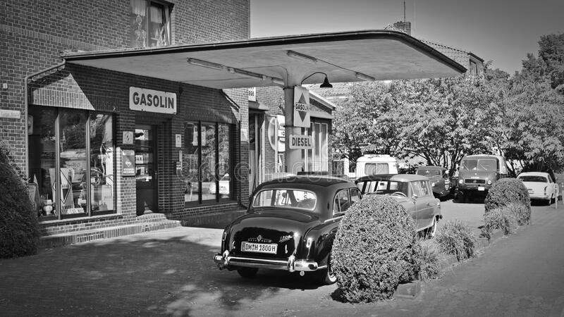 Old fashioned gas station stock image