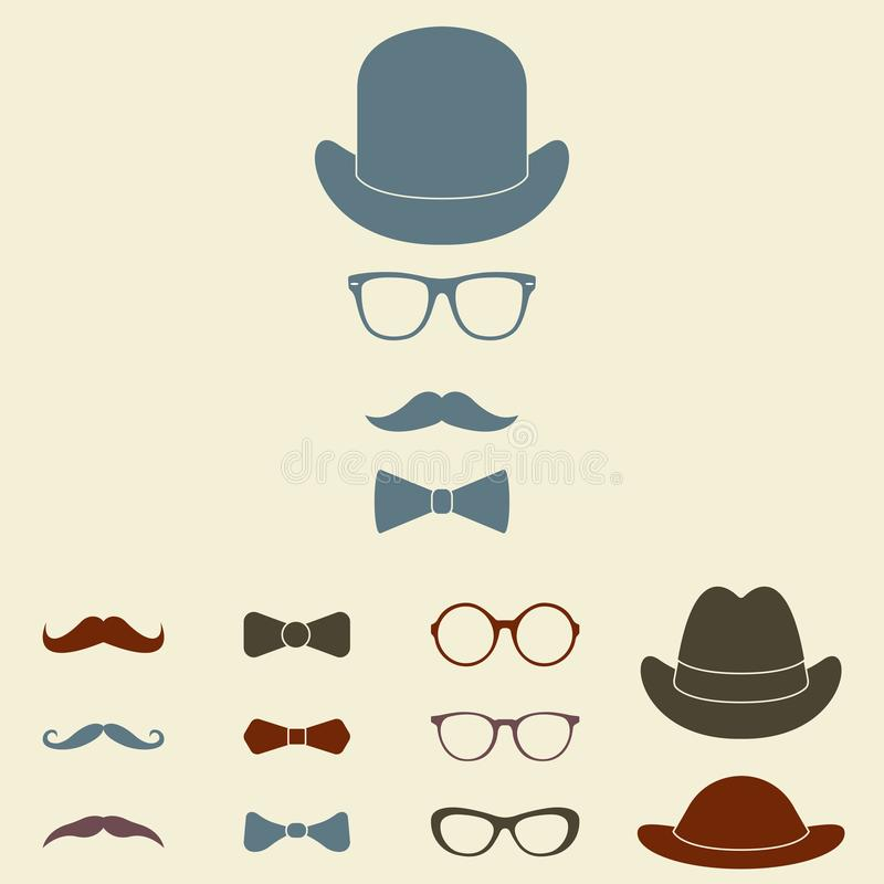 Old fashioned gentleman accessories icon set. Glasses, hat, mustache and bowtie. Vintage or hipster style. Vector illustration. vector illustration