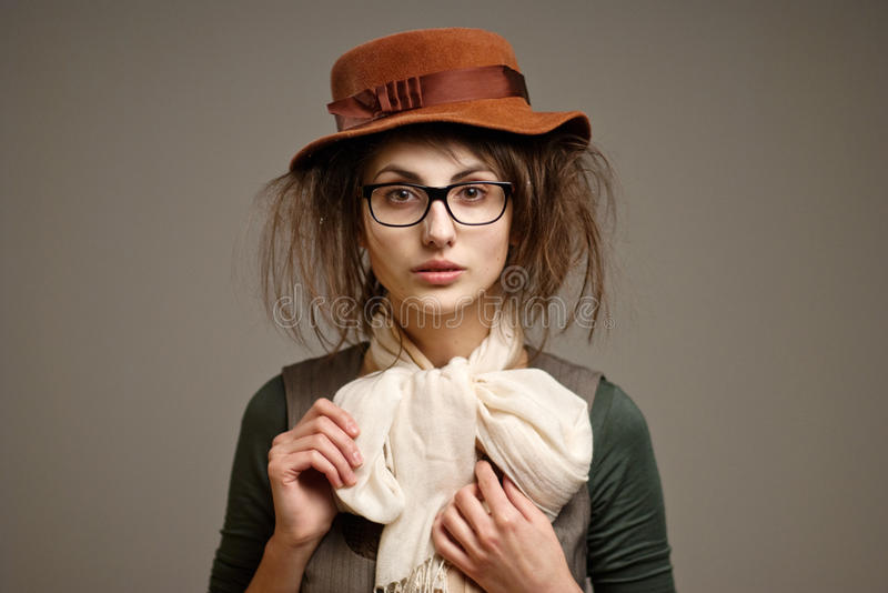 Download Old-fashioned girl stock image. Image of hand, glasses - 23943987