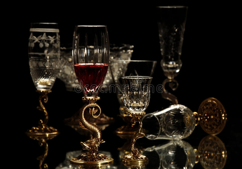 Old fashioned glassware stock photography
