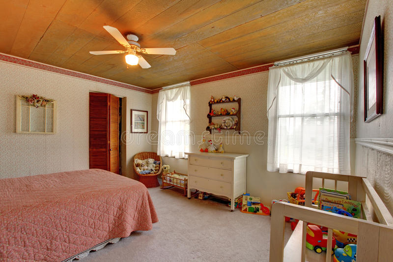 Old fashioned house interior Kids room stock photo
