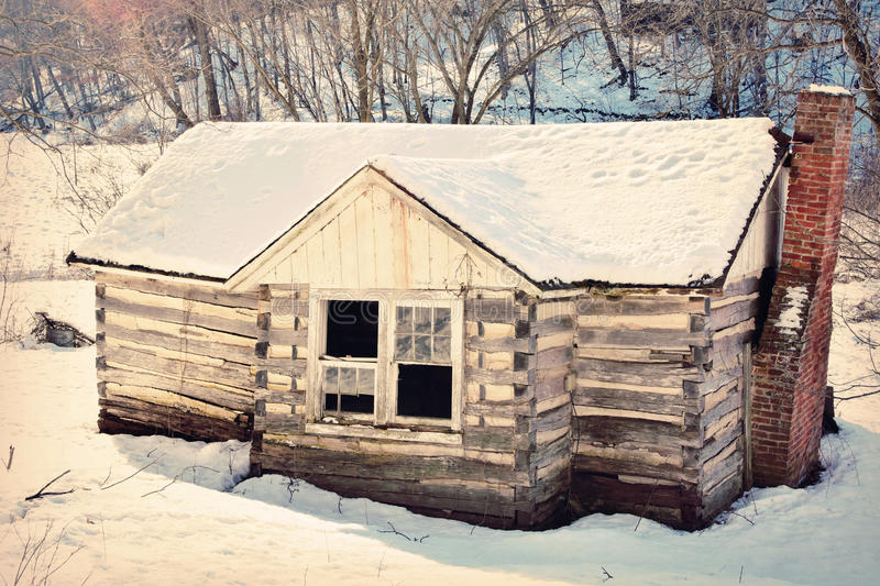 Old Fashioned House Winter stock photo