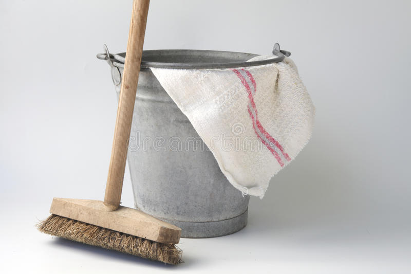 Old fashioned housekeeping with zinc bucket stock photos