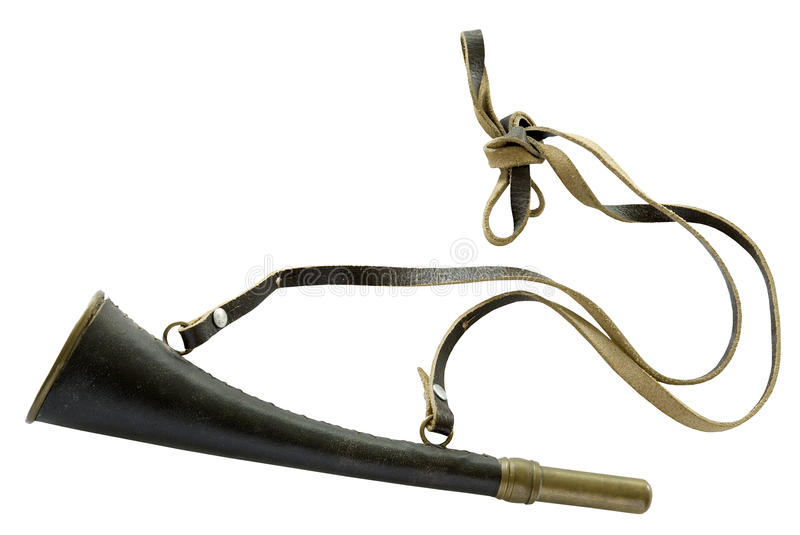 Old-fashioned hunting horn stock images