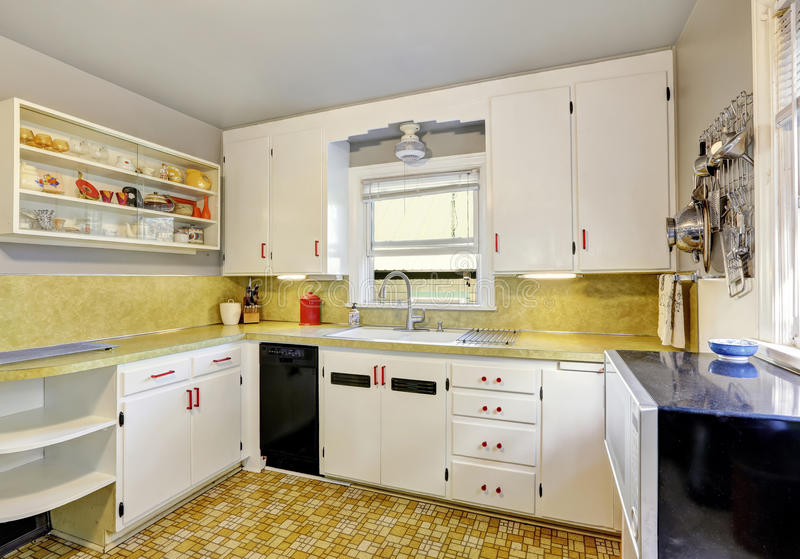 Download Old Fashioned Kitchen With White Cabinets, Cupboard. Stock Photo    Image Of Northwest