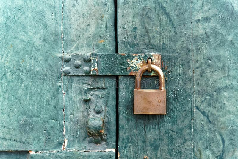 Old Fashioned Lock on Old Wooden Door stock photos