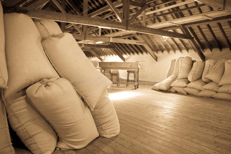 Download Old fashioned malt barn stock image. Image of stacked - 30761371