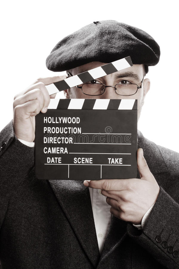 Download Old Fashioned Man And Movie Clapper Royalty Free Stock Photo - Image: 19439485