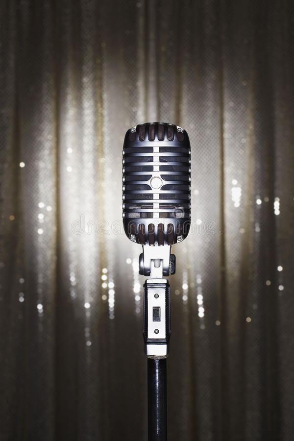 Download Old Fashioned Microphone In Front Of Stage Curtain Stock Photo - Image: 30845134