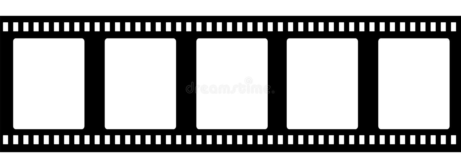 Old fashioned 35mm filmstrip isolated vector illustration