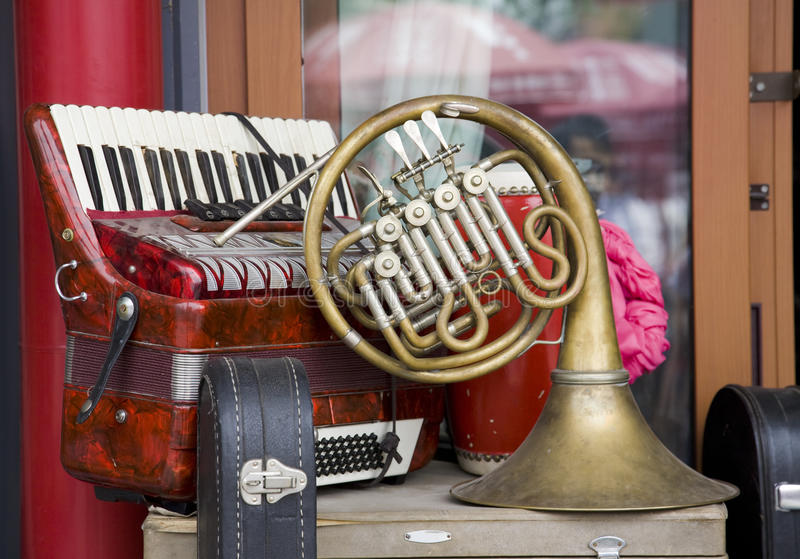 Old-fashioned musical instrument stock image