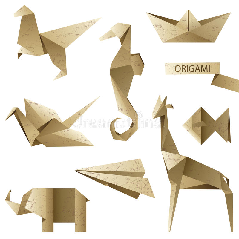Old-fashioned origami set. For your designs vector illustration