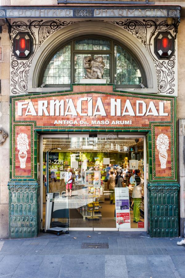Old fashioned Pharmacy shop front. Barcelona, Spain - September 5th 2015: Old fashioned Pharmacy shop front on one of the Ramblas. There are many shops in the royalty free stock image