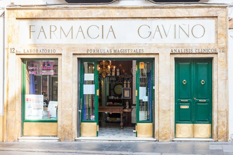 Old fashioned pharmacy shop. Seville, Spain - September 3rd 2015: Old fashioned pharmacy shop. Seville is the capial of Andalusia stock image