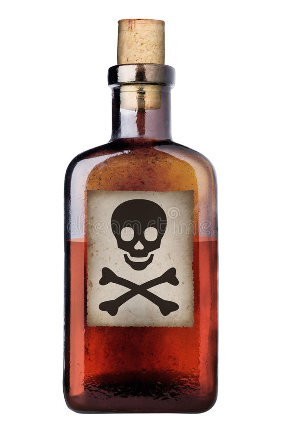 Old fashioned poison bottle. stock image