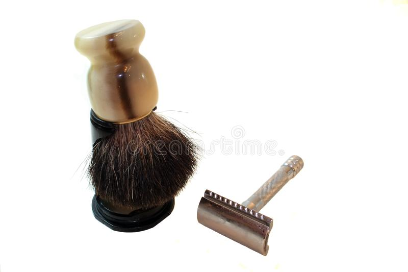 Download Old Fashioned Razor And Shaving Cream Brush Stock Photo - Image of chrome, isolated: 13768110