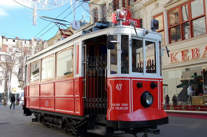 Old-fashioned red tram Nostalgia in Istanbul. ISTANBUL, TURKEY - JAN 19, 2011 - Old-fashioned red tram Nostalgia in Istanbul. It is the heritage tramway system stock image
