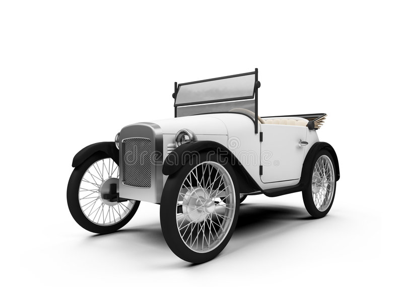 Old fashioned retro car. Isolated white Old fashioned retro car over white stock illustration