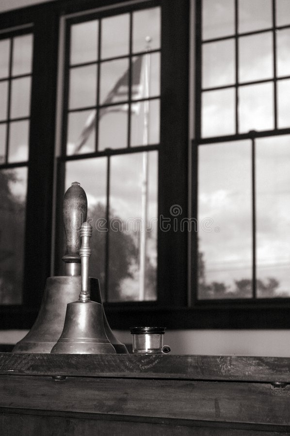 Old-fashioned school bells stock photo