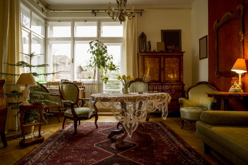 Old-fashioned sitting room stock photo