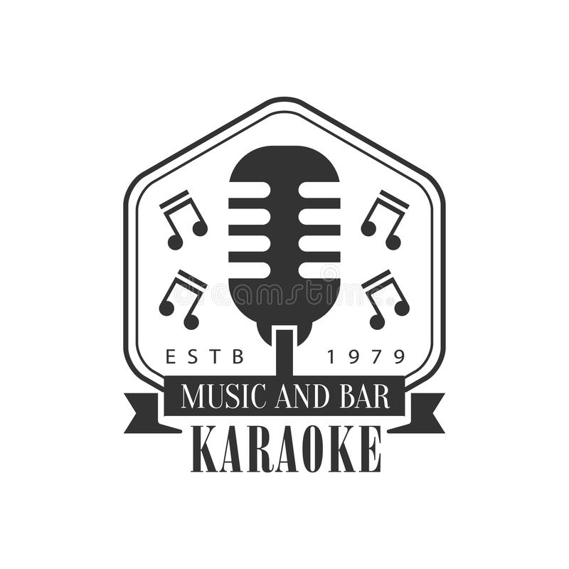 Old-Fashioned Stage Microphone In Frame Karaoke Premium Quality Bar Club Monochrome Promotion Retro Sign Vector Design vector illustration