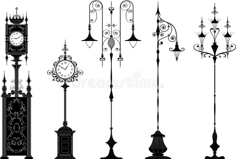 Old-fashioned street lanterns and clocks. Set of antique ornate streetlights and street clocks in black - change the color is one click of the mouse, hands you vector illustration