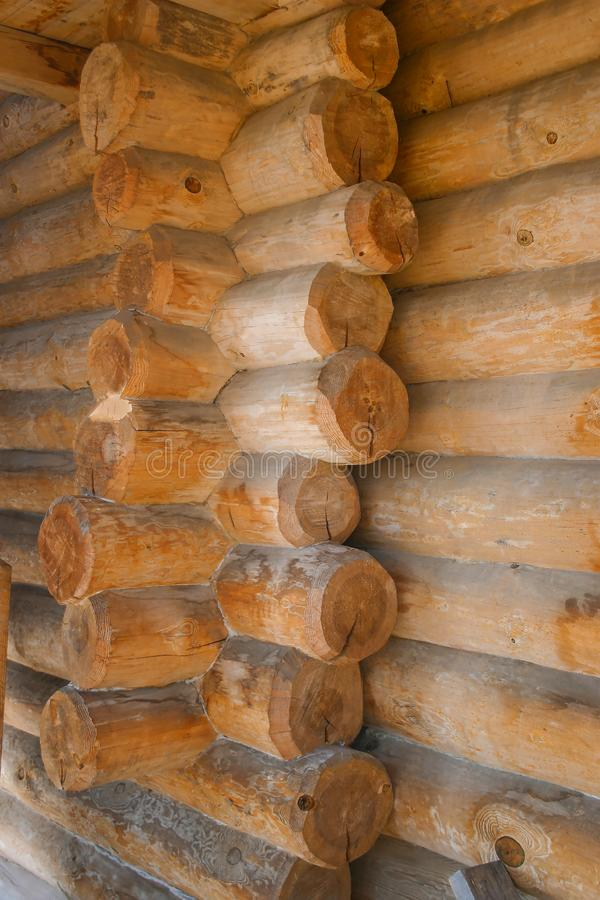 Corner connection logs in the log house royalty free stock photos