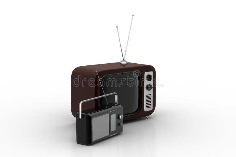 Old fashioned tv and radio. In white background stock illustration