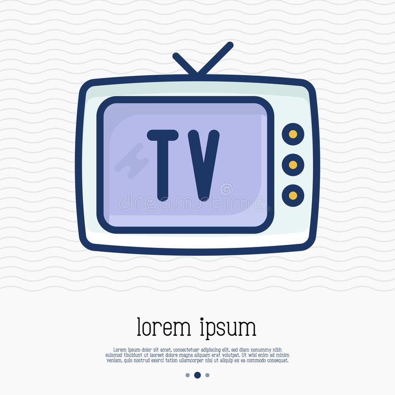Old-fashioned TV thin line icon. Vector illustration of home appliance royalty free illustration