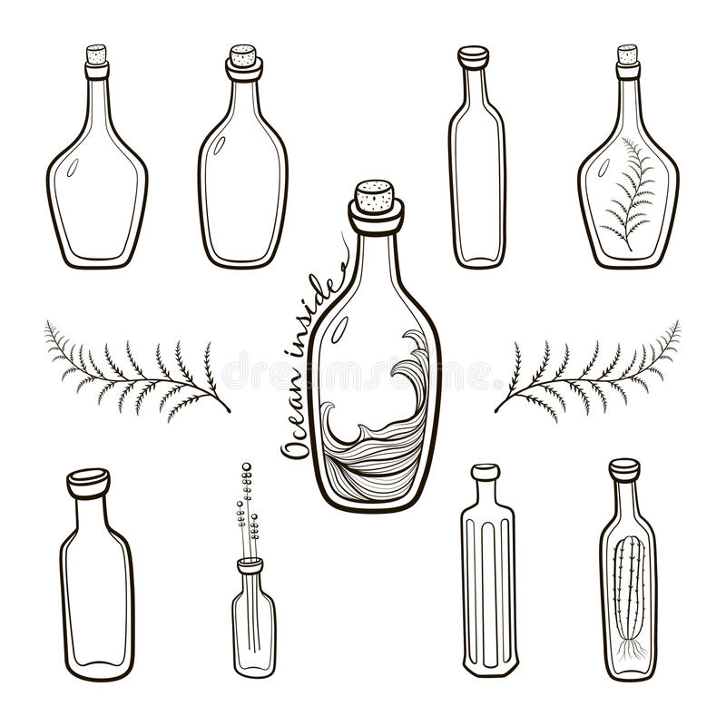Download Old Fashioned Vintage Bottles Set Stock Illustration