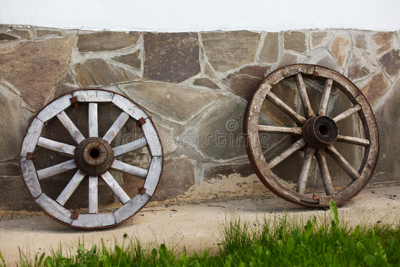 Old-fashioned wagon wheels stock images