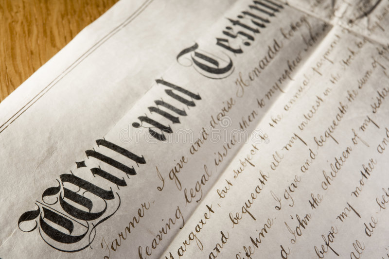 Old-Fashioned Will And Testament stock photography