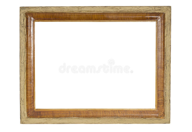 Old-fashioned wooden vintage frame isolated on white background. royalty free stock photography