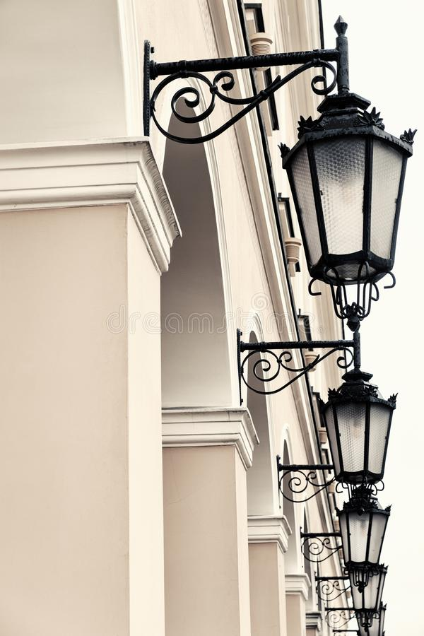 Old-fashioned wrought iron lanterns. royalty free stock photos