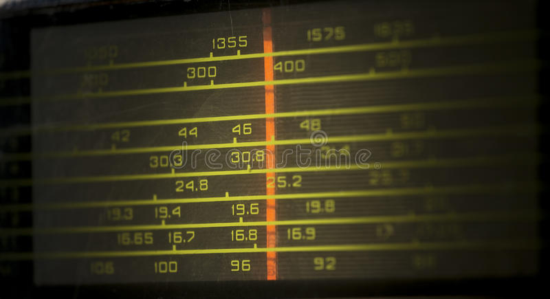 Old fashioneed radio frequency scale closeup royalty free stock photo