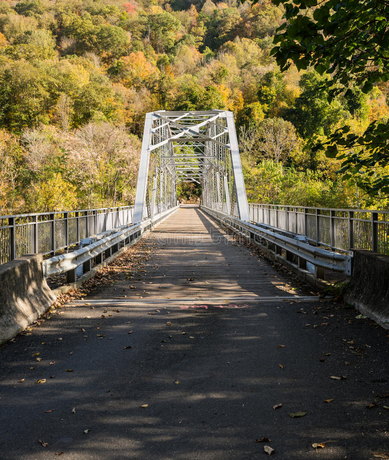 Old Fayette Station bridge in West Virginia. Old Fayette Station bridge across New River Gorge in West Virginia royalty free stock photography