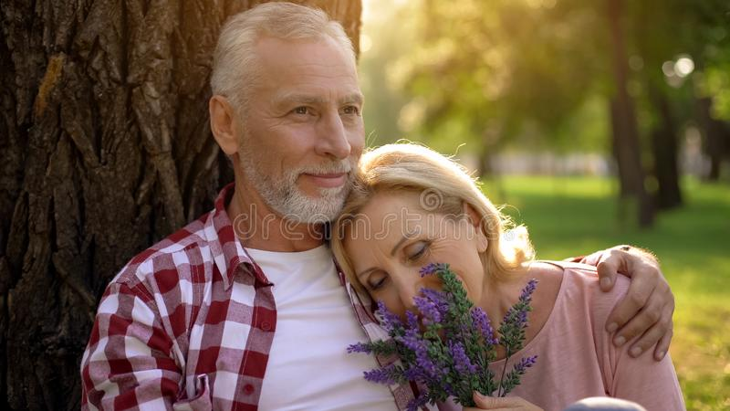 Old female lying on mans shoulder, senior couple sitting in park near tree, date stock images
